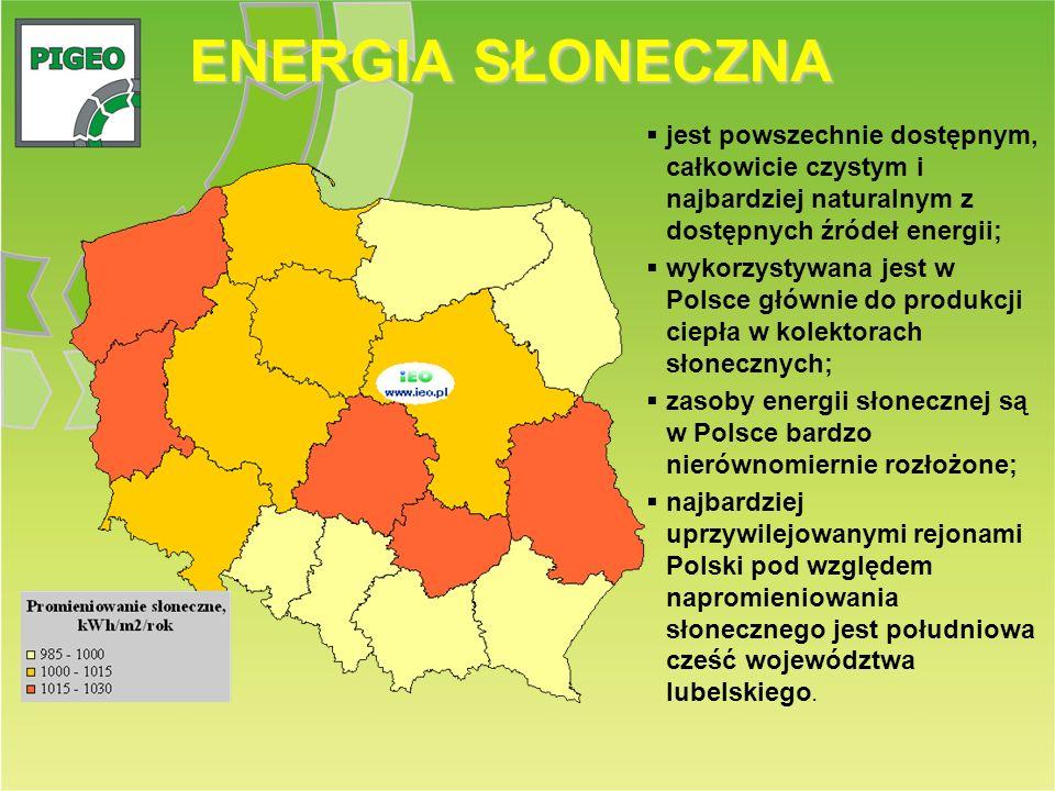 ENERGIA SŁONECZNA jest powszechnie dostępnym, całkowicie czystym i najbardziej naturalnym z dostępnych źródeł energii; wykorzystywana jest w Polsce gł