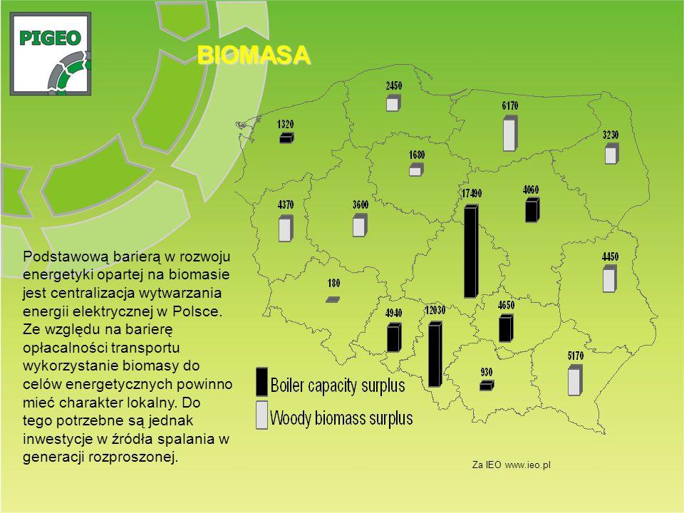 BIOMASA Za IEO www.ieo.pl Podstawową barierą w rozwoju energetyki opartej na biomasie jest centralizacja wytwarzania energii elektrycznej w Polsce. Ze