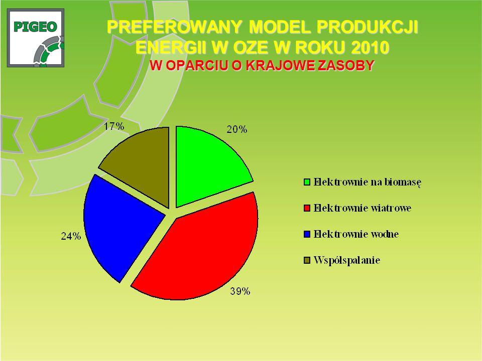 PREFEROWANY MODEL PRODUKCJI ENERGII W OZE W ROKU 2010 W OPARCIU O KRAJOWE ZASOBY