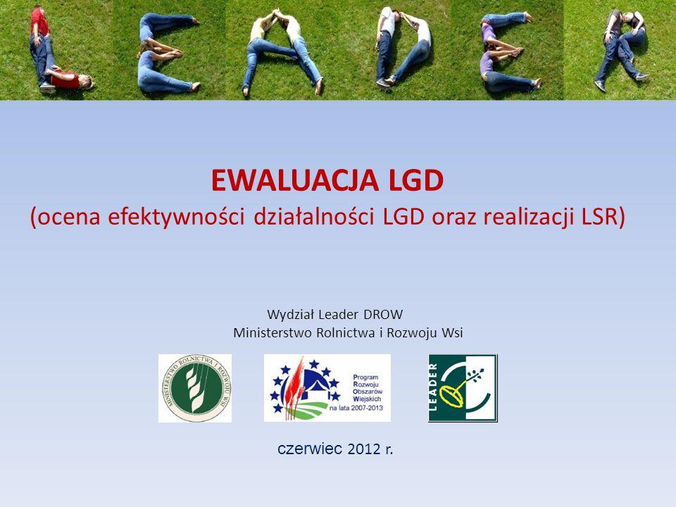 EWALUACJA LGD (ocena efektywności działalności LGD oraz realizacji LSR) czerwiec 2012 r. Wydział Leader DROW Ministerstwo Rolnictwa i Rozwoju Wsi