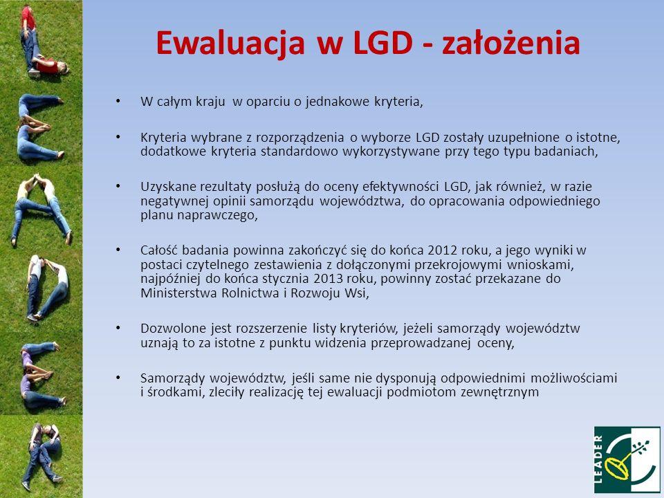 Ewaluacja w LGD - założenia W całym kraju w oparciu o jednakowe kryteria, Kryteria wybrane z rozporządzenia o wyborze LGD zostały uzupełnione o istotn