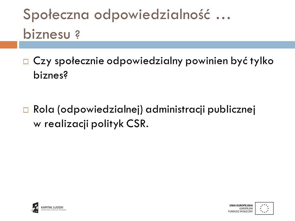 Wnioski Rozwój CSR wymaga intensywnych działań upowszechniających, istotną kwestią jest mechanizm wdrażania, a także ewaluacja tychże działań, Ograniczanie upowszechniania do dostarczania informacji, popularyzacji i promocji prowadzi do teoretycznej, często powierzchownej znajomości koncepcji CSR, podczas gdy korzyści wynikające z wdrażania standardów pozostają niedostępne dla polskiego biznesu i społeczeństwa.