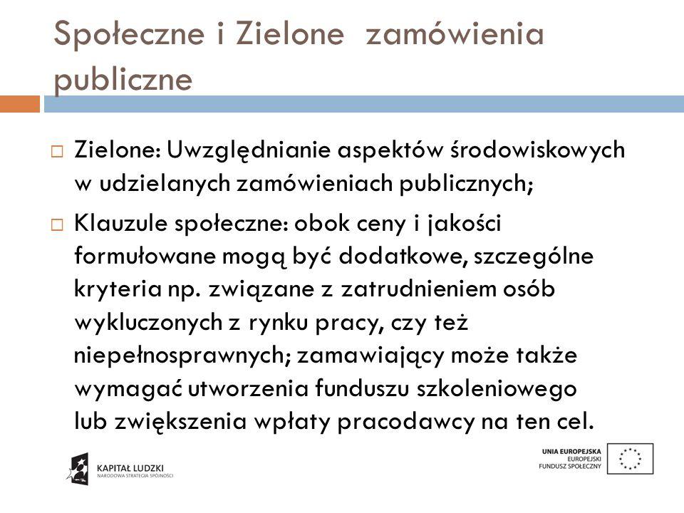 Społeczne i Zielone zamówienia publiczne: aspiracje Cele wyznaczone przez Komisję Europejską: do 2015 roku, 50% zamówień publicznych udzielanych na szczeblu centralnym powinno mieć zielony charakter, do 2010, 20% zielonych zamówień na szczeblu lokalnym; Zamówienia społeczne: Urząd Zamówień Publicznych wyznaczył cel 10% do 2012 roku.