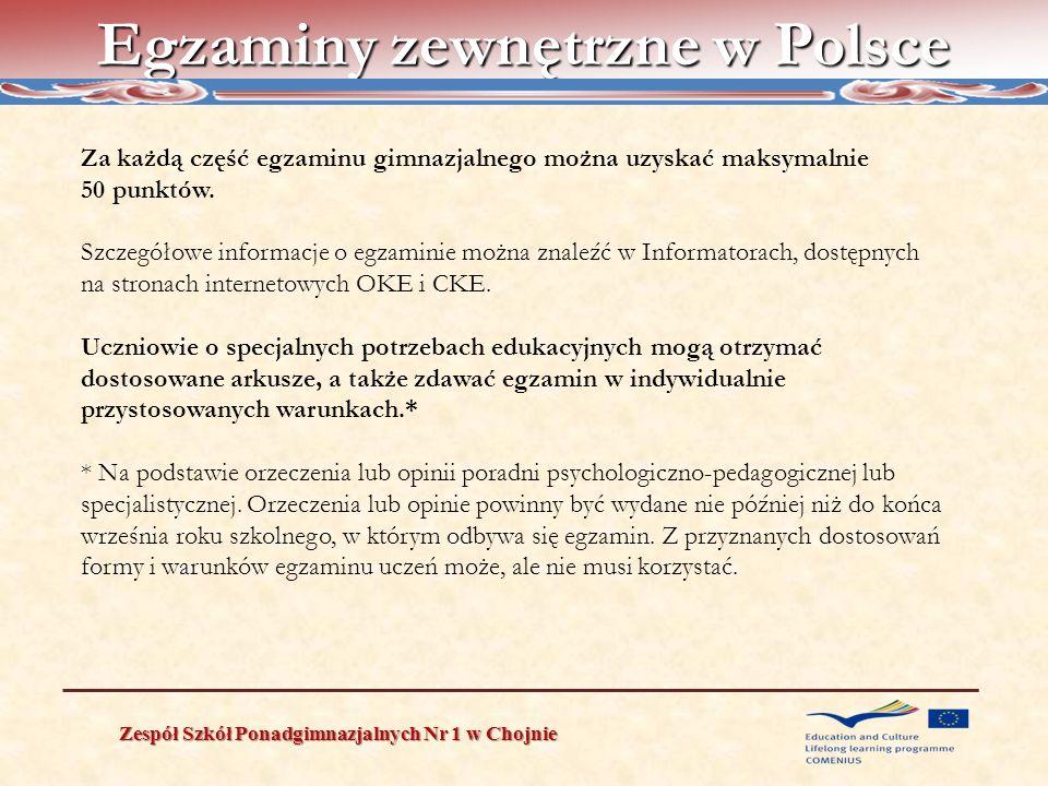 Egzaminy zewnętrzne w Polsce Zespół Szkół Ponadgimnazjalnych Nr 1 w Chojnie Za każdą część egzaminu gimnazjalnego można uzyskać maksymalnie 50 punktów