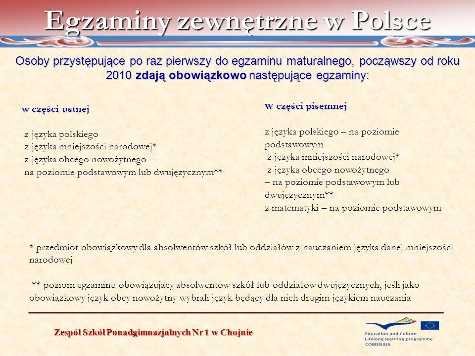 Egzaminy zewnętrzne w Polsce Zespół Szkół Ponadgimnazjalnych Nr 1 w Chojnie Osoby przystępujące po raz pierwszy do egzaminu maturalnego, począwszy od
