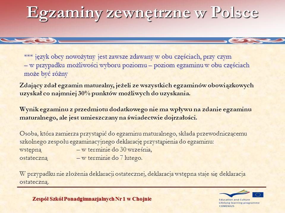 Egzaminy zewnętrzne w Polsce Zespół Szkół Ponadgimnazjalnych Nr 1 w Chojnie *** język obcy nowożytny jest zawsze zdawany w obu częściach, przy czym –