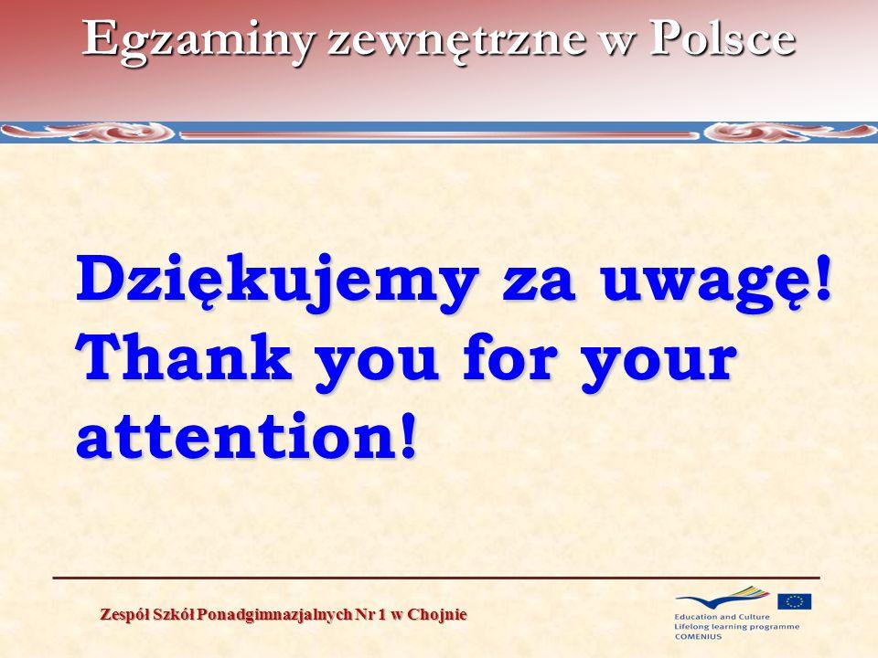Egzaminy zewnętrzne w Polsce Zespół Szkół Ponadgimnazjalnych Nr 1 w Chojnie Dziękujemy za uwagę! Thank you for your attention!
