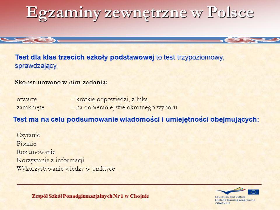 Egzaminy zewnętrzne w Polsce Zespół Szkół Ponadgimnazjalnych Nr 1 w Chojnie Test dla klas trzecich szkoły podstawowej to test trzypoziomowy, sprawdzaj