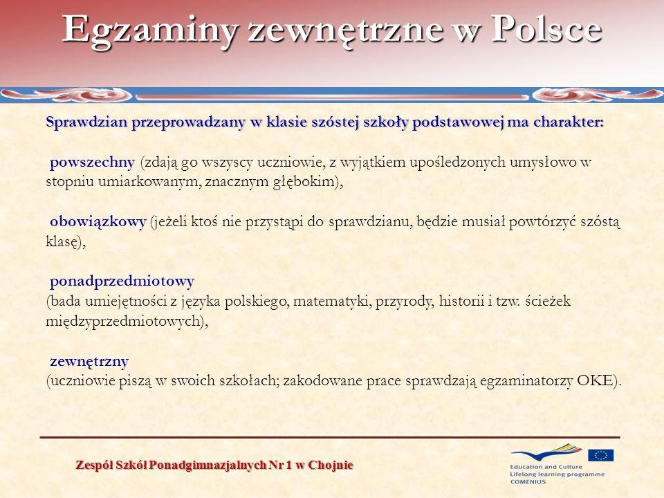 Egzaminy zewnętrzne w Polsce Zespół Szkół Ponadgimnazjalnych Nr 1 w Chojnie Sprawdzian przeprowadzany w klasie szóstej szkoły podstawowej ma charakter