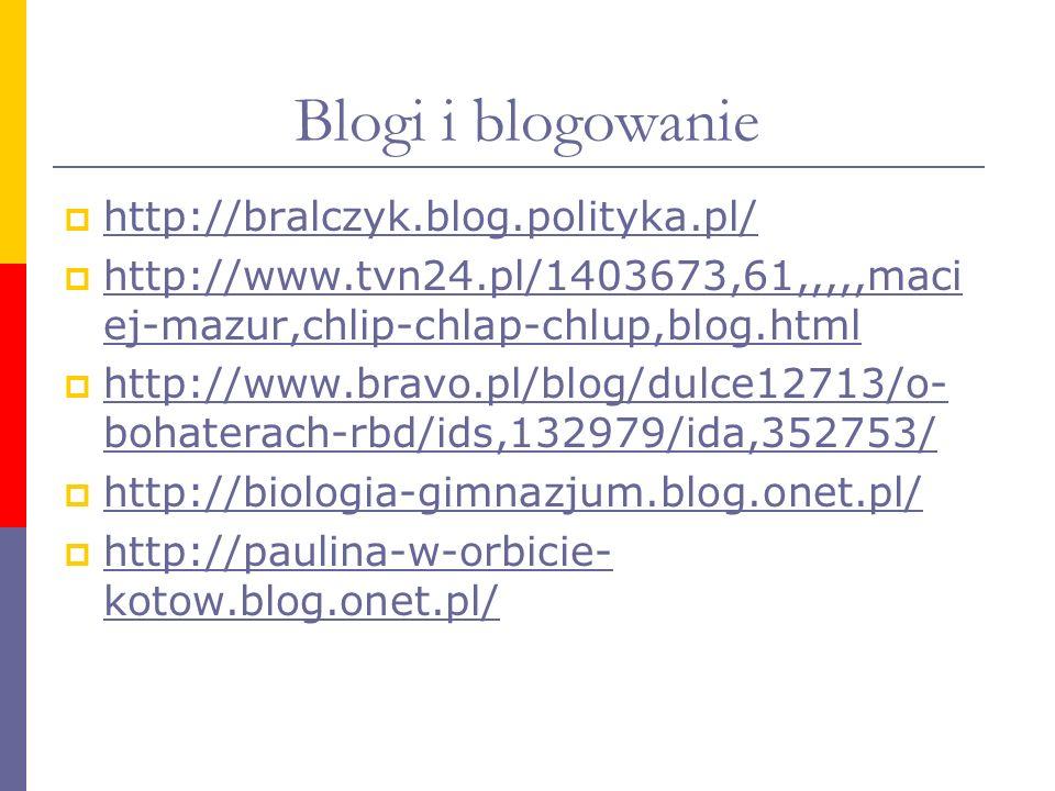 Blogi i blogowanie http://bralczyk.blog.polityka.pl/ http://www.tvn24.pl/1403673,61,,,,,maci ej-mazur,chlip-chlap-chlup,blog.html http://www.tvn24.pl/