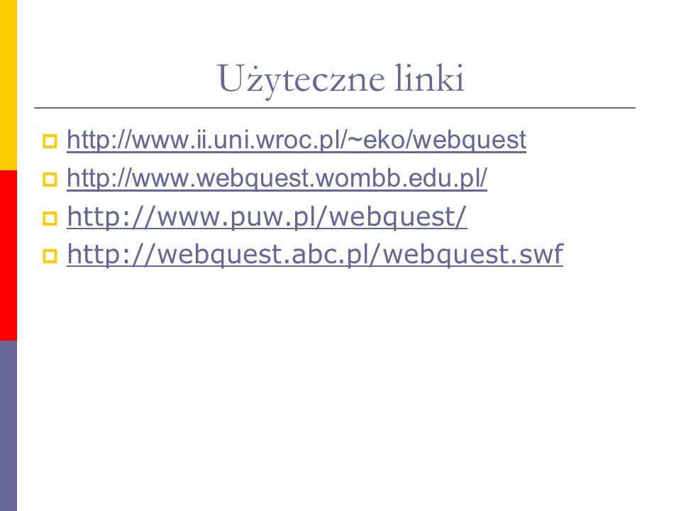Użyteczne linki http://www.ii.uni.wroc.pl/~eko/webquest http://www.webquest.wombb.edu.pl/ http://www.puw.pl/webquest/ http://webquest.abc.pl/webquest.