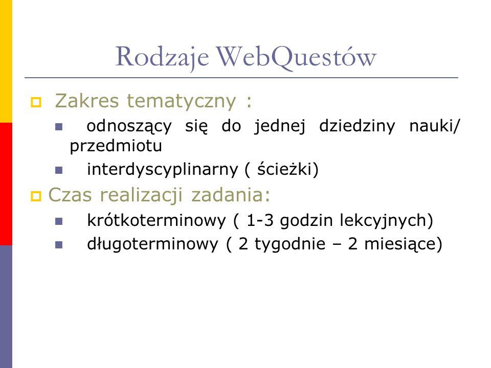 Rodzaje WebQuestów Zakres tematyczny : odnoszący się do jednej dziedziny nauki/ przedmiotu interdyscyplinarny ( ścieżki) Czas realizacji zadania: krót