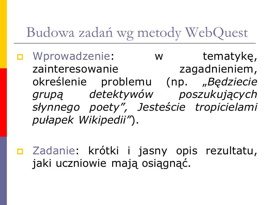 Budowa zadań wg metody WebQuest Wprowadzenie: w tematykę, zainteresowanie zagadnieniem, określenie problemu (np. Będziecie grupą detektywów poszukując