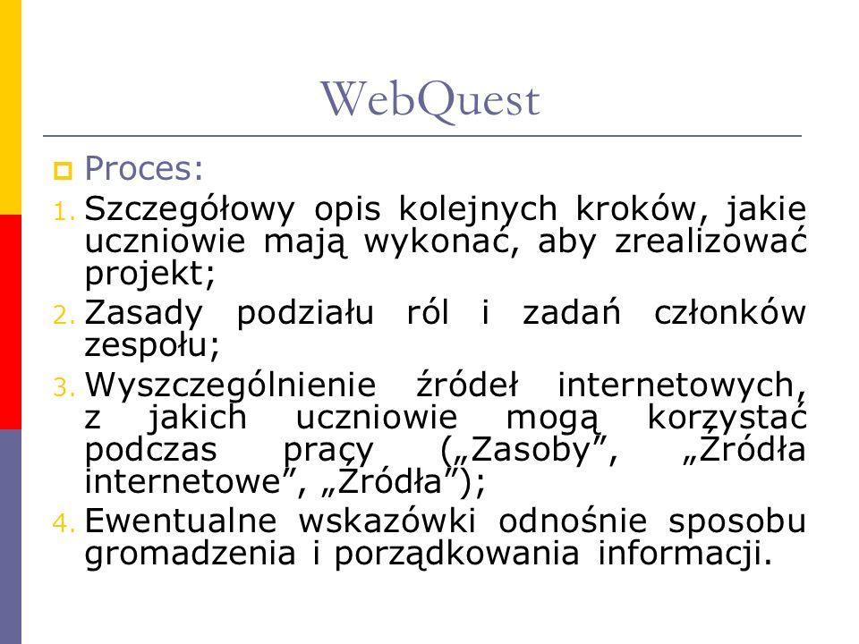 WebQuest Proces: 1. Szczegółowy opis kolejnych kroków, jakie uczniowie mają wykonać, aby zrealizować projekt; 2. Zasady podziału ról i zadań członków