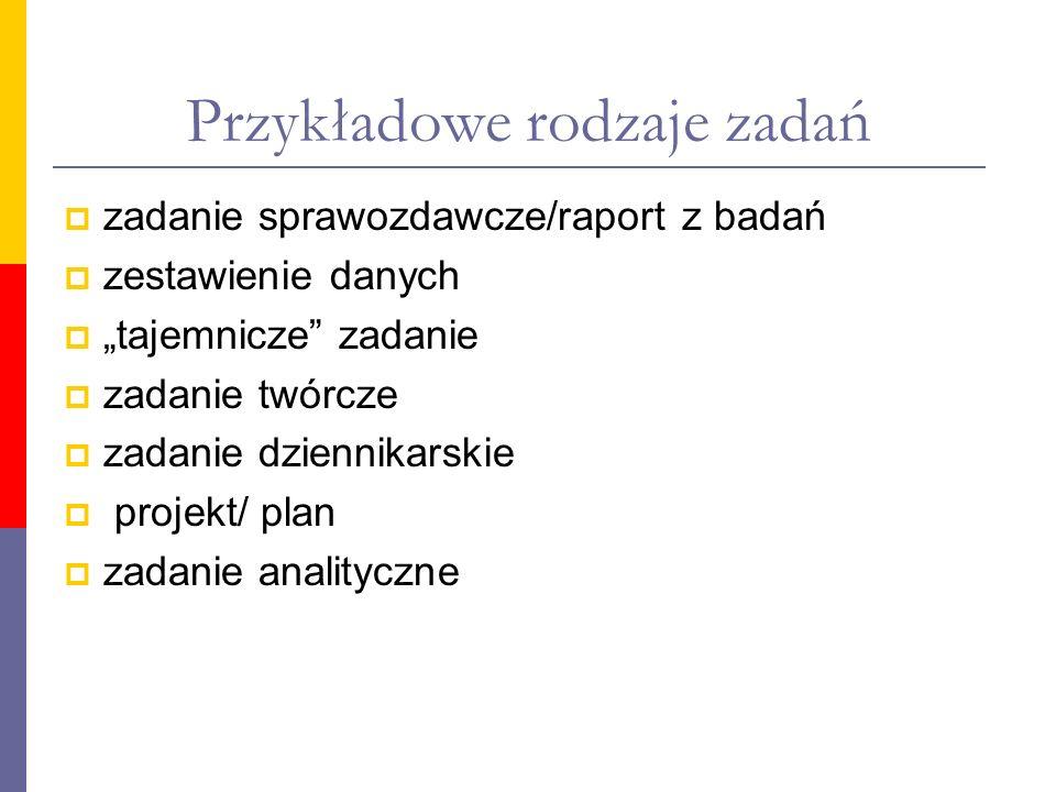 Przykładowe rodzaje zadań zadanie sprawozdawcze/raport z badań zestawienie danych tajemnicze zadanie zadanie twórcze zadanie dziennikarskie projekt/ p