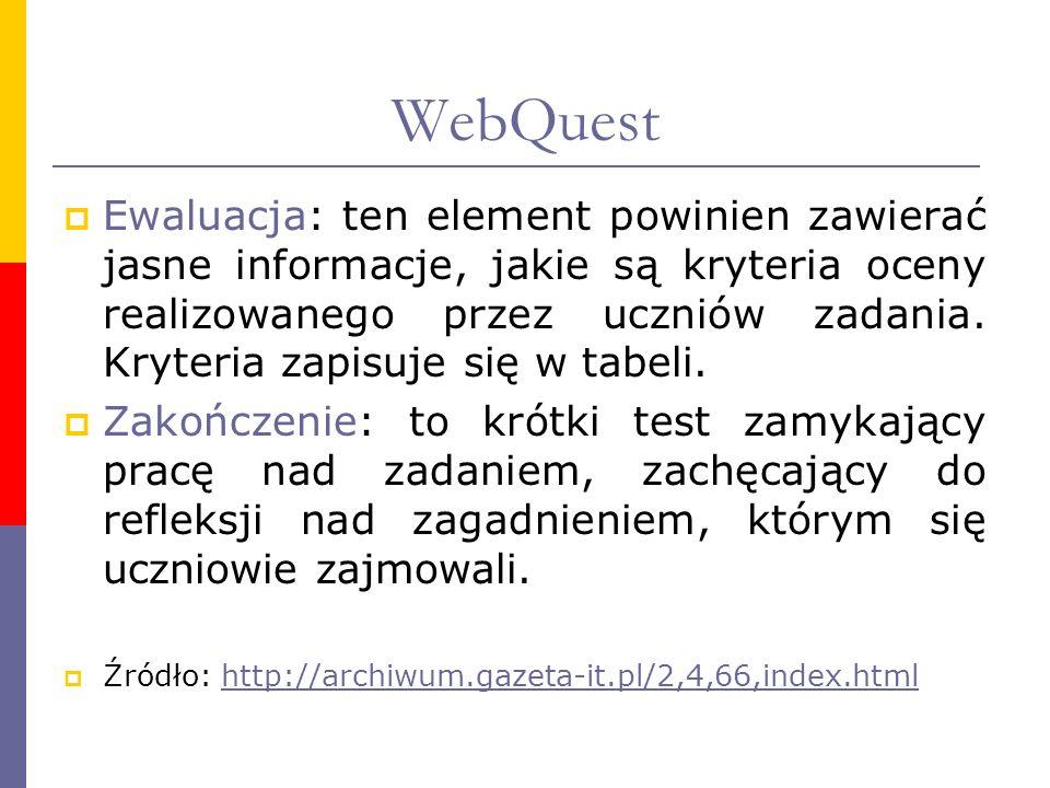 WebQuest Ewaluacja: ten element powinien zawierać jasne informacje, jakie są kryteria oceny realizowanego przez uczniów zadania. Kryteria zapisuje się