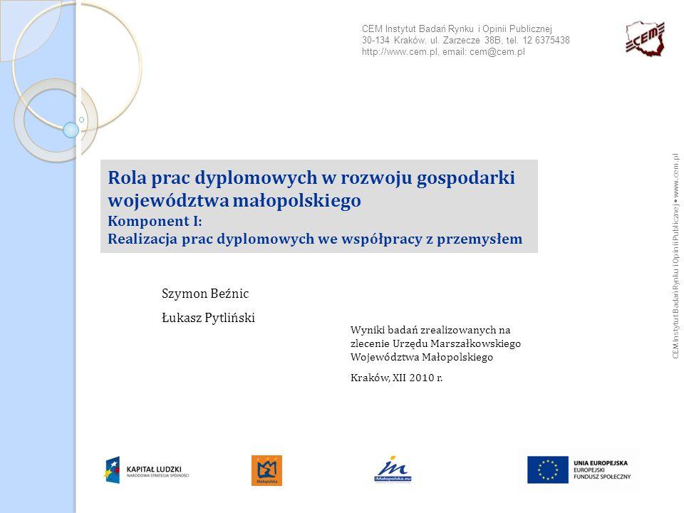CEM Instytut Badań Rynku i Opinii Publicznej www.cem.pl 12 Badania jakościowe - bariery współpracy Stereotypizacja postrzegania studentów i naukowców Niski poziom kompetencji merytorycznych studentów i absolwentów.