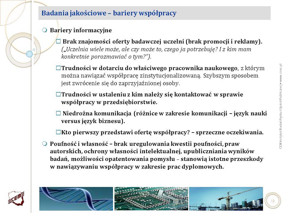 CEM Instytut Badań Rynku i Opinii Publicznej www.cem.pl 10 Badania jakościowe – bariery współpracy Bariery informacyjne Brak znajomości oferty badawcz