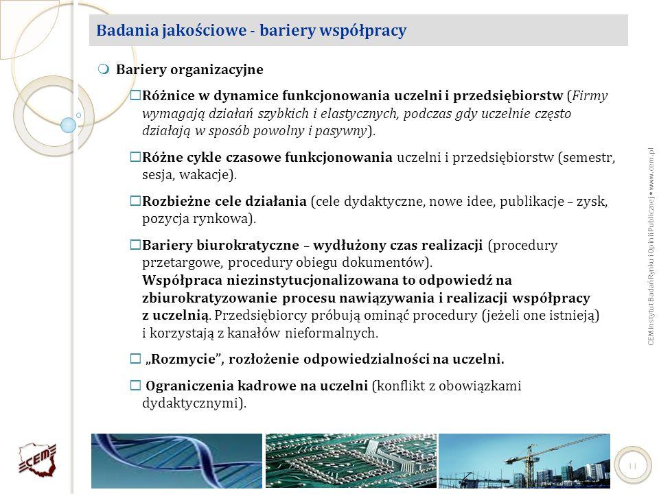 CEM Instytut Badań Rynku i Opinii Publicznej www.cem.pl 11 Badania jakościowe - bariery współpracy Bariery organizacyjne Różnice w dynamice funkcjonow