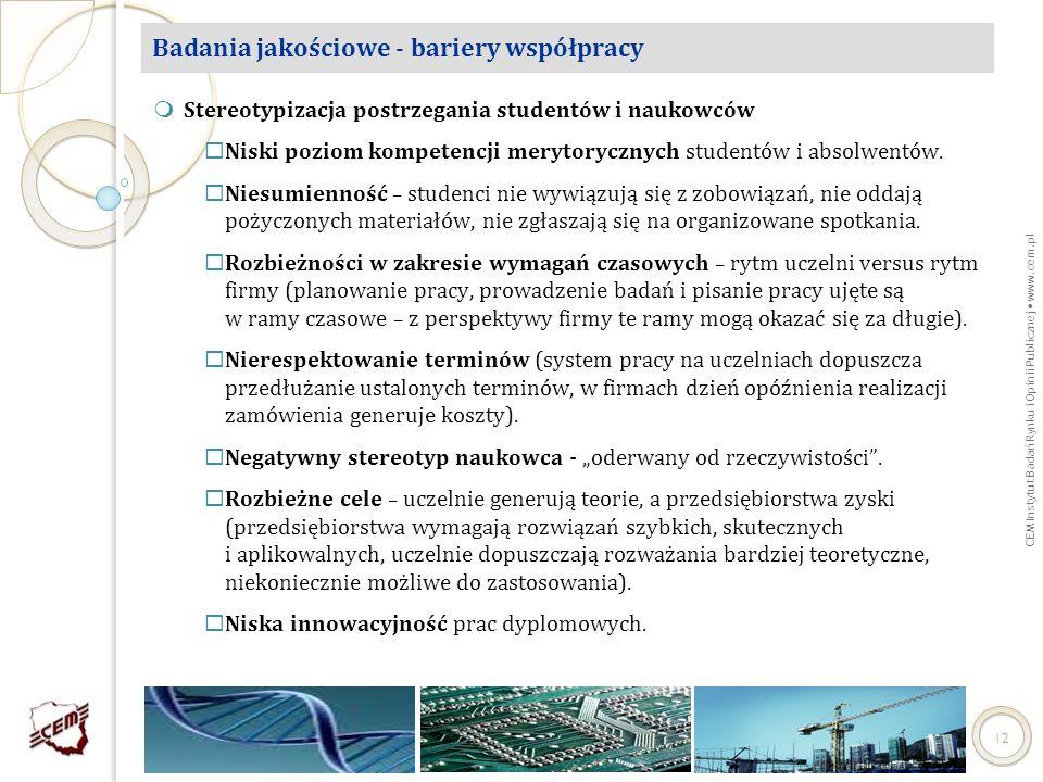 CEM Instytut Badań Rynku i Opinii Publicznej www.cem.pl 12 Badania jakościowe - bariery współpracy Stereotypizacja postrzegania studentów i naukowców