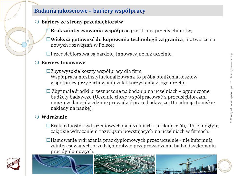 CEM Instytut Badań Rynku i Opinii Publicznej www.cem.pl 13 Badania jakościowe – bariery współpracy Bariery ze strony przedsiębiorstw Brak zainteresowa