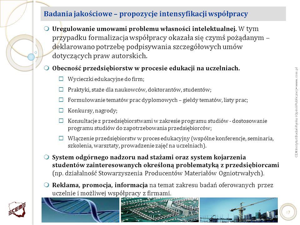 CEM Instytut Badań Rynku i Opinii Publicznej www.cem.pl 17 Badania jakościowe – propozycje intensyfikacji współpracy Uregulowanie umowami problemu wła