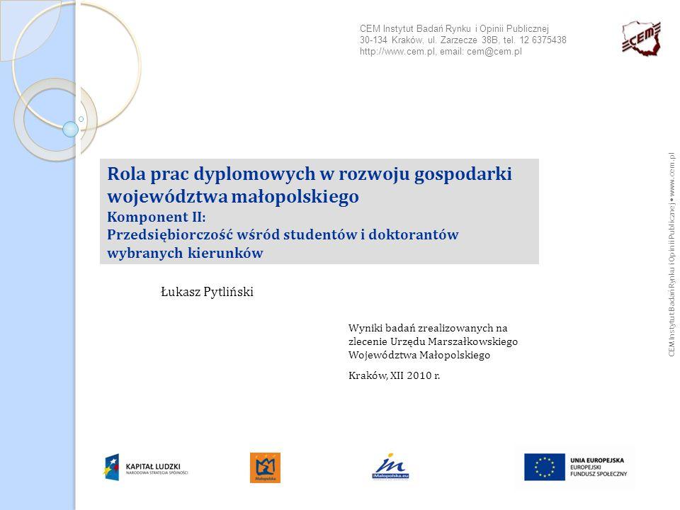 CEM Instytut Badań Rynku i Opinii Publicznej www.cem.pl Rola prac dyplomowych w rozwoju gospodarki województwa małopolskiego Komponent II: Przedsiębio