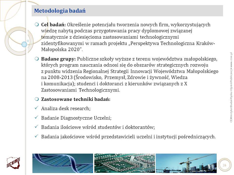 CEM Instytut Badań Rynku i Opinii Publicznej www.cem.pl 26 Metodologia badań Cel badań: Określenie potencjału tworzenia nowych firm, wykorzystujących