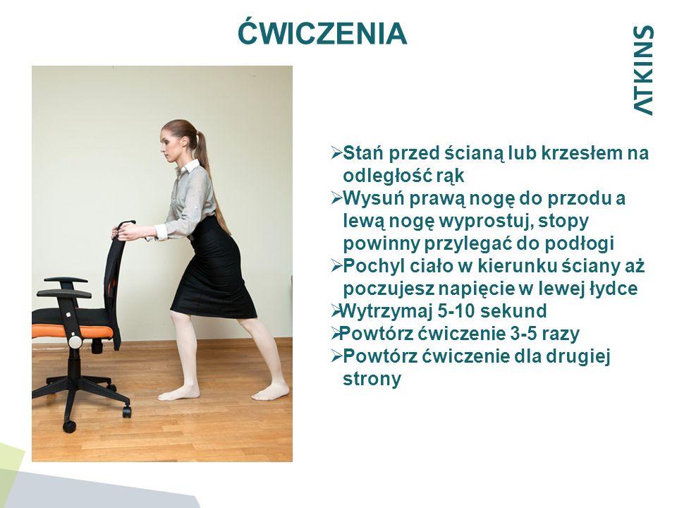ĆWICZENIA Stań przed ścianą lub krzesłem na odległość rąk Wysuń prawą nogę do przodu a lewą nogę wyprostuj, stopy powinny przylegać do podłogi Pochyl