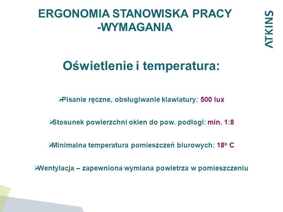 ERGONOMIA STANOWISKA PRACY -WYMAGANIA Oświetlenie i temperatura: Pisanie ręczne, obsługiwanie klawiatury: 500 lux Stosunek powierzchni okien do pow. p
