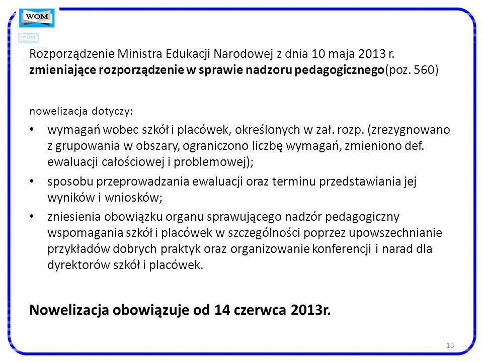 13 Rozporządzenie Ministra Edukacji Narodowej z dnia 10 maja 2013 r. zmieniające rozporządzenie w sprawie nadzoru pedagogicznego(poz. 560) nowelizacja