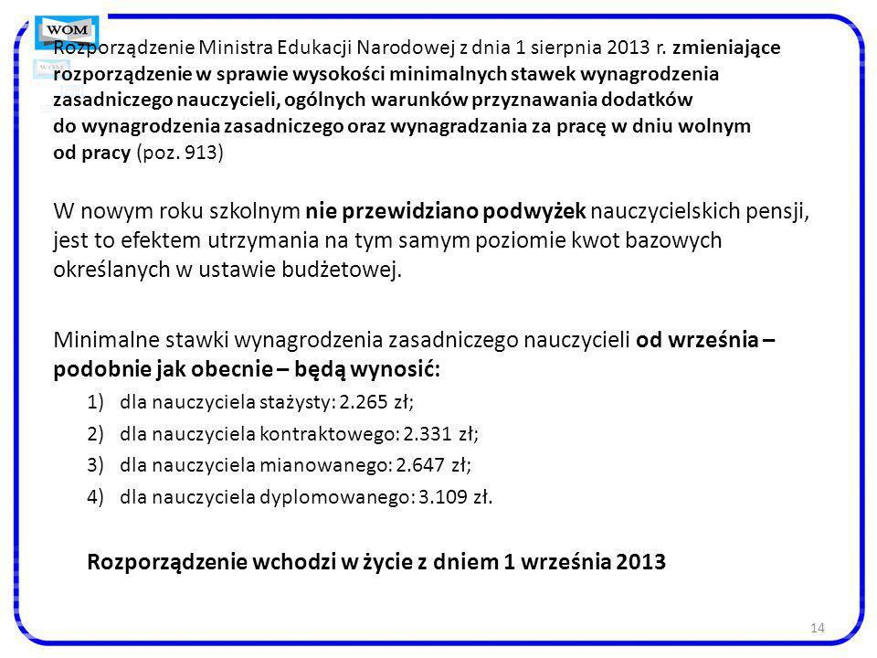 14 Rozporządzenie Ministra Edukacji Narodowej z dnia 1 sierpnia 2013 r. zmieniające rozporządzenie w sprawie wysokości minimalnych stawek wynagrodzeni