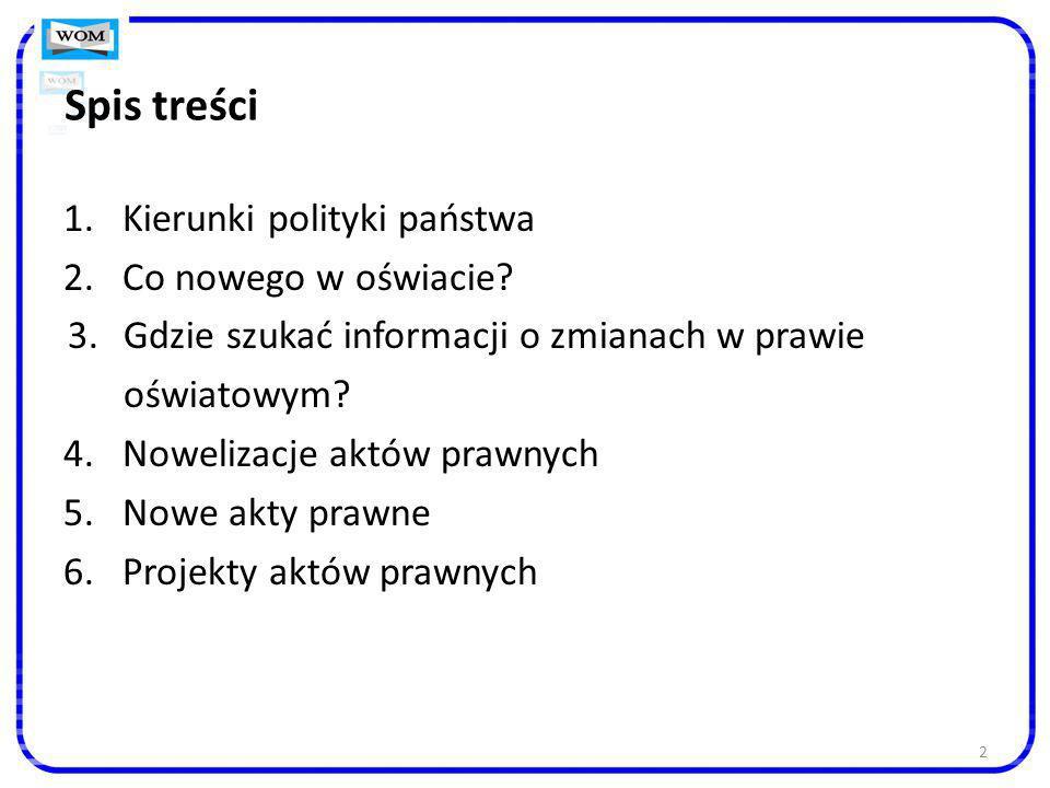 23 Dokumenty, nad którymi trwają prace MEN http://bip.men.gov.pl/images/stories/Wykaz_prac_legislacyjnych_ 1)Rozporządzenie MEN w sprawie ramowych statutów publicznego przedszkola oraz publicznych szkół (IV kwartał 2013) 2)Rozporządzenie MEN zmieniające rozporządzenie w sprawie warunków i trybu przyjmowania uczniów do publicznych szkół oraz przechodzenia z jednych typów szkół do innych (IV kwartał 2013) 3)Rozporządzenie MEN w sprawie orzeczeń i opinii wydawanych przez zespoły orzekające działające w publicznych poradniach psychologiczno-pedagogicznych (IV kwartał 2013) 4)Rozporządzenie MEN zmieniające rozporządzenie w sprawie sposobu prowadzenia przez publiczne przedszkola, szkoły i placówki dokumentacji przebiegu nauczania, działalności wychowawczej i opiekuńczej oraz rodzajów tej dokumentacji (2013, doprecyzowanie, jakie informacje powinny być zawarte w arkuszu ocen oraz wprowadzenie przepisów określających sposób prowadzenia i przechowywania arkuszy ocen sporządzonych komputerowo) oraz: Karta Nauczyciela (m.in.