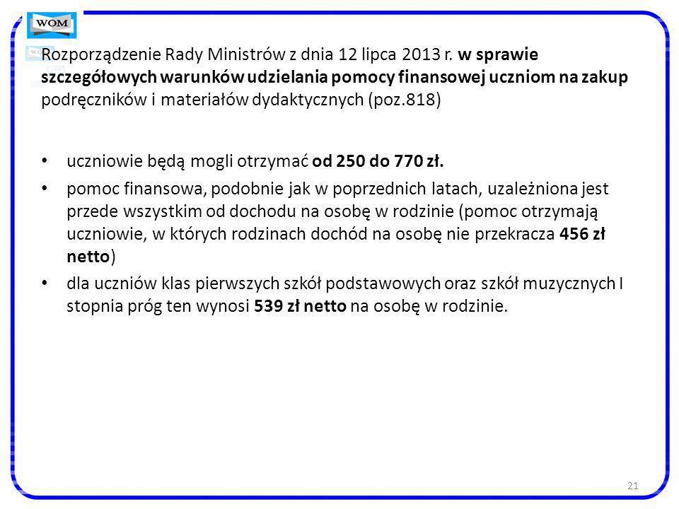 21 Rozporządzenie Rady Ministrów z dnia 12 lipca 2013 r. w sprawie szczegółowych warunków udzielania pomocy finansowej uczniom na zakup podręczników i