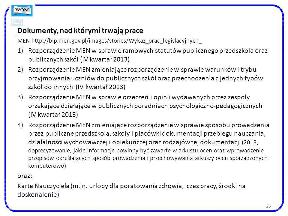 23 Dokumenty, nad którymi trwają prace MEN http://bip.men.gov.pl/images/stories/Wykaz_prac_legislacyjnych_ 1)Rozporządzenie MEN w sprawie ramowych sta