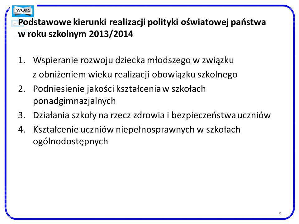 3 Podstawowe kierunki realizacji polityki oświatowej państwa w roku szkolnym 2013/2014 1.Wspieranie rozwoju dziecka młodszego w związku z obniżeniem w