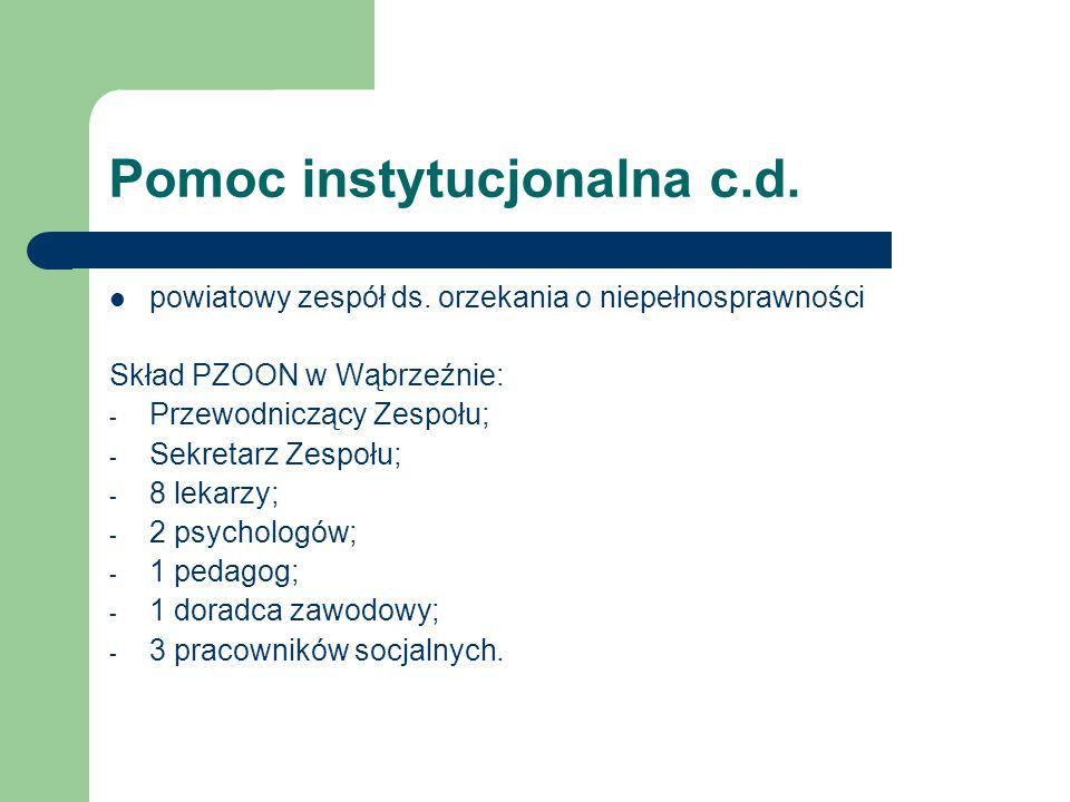 Pomoc instytucjonalna c.d. powiatowy zespół ds. orzekania o niepełnosprawności Skład PZOON w Wąbrzeźnie: - Przewodniczący Zespołu; - Sekretarz Zespołu