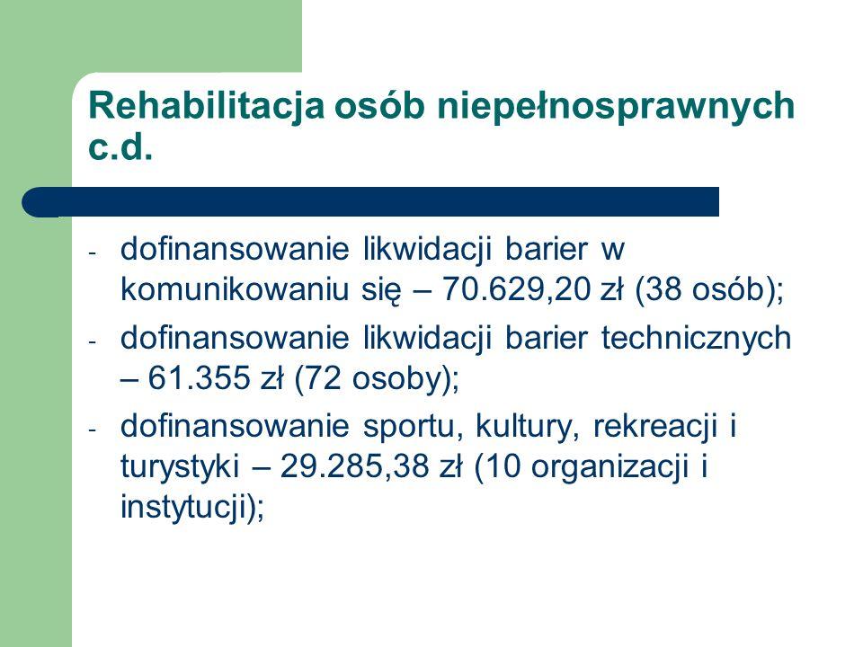 Rehabilitacja osób niepełnosprawnych c.d. - dofinansowanie likwidacji barier w komunikowaniu się – 70.629,20 zł (38 osób); - dofinansowanie likwidacji