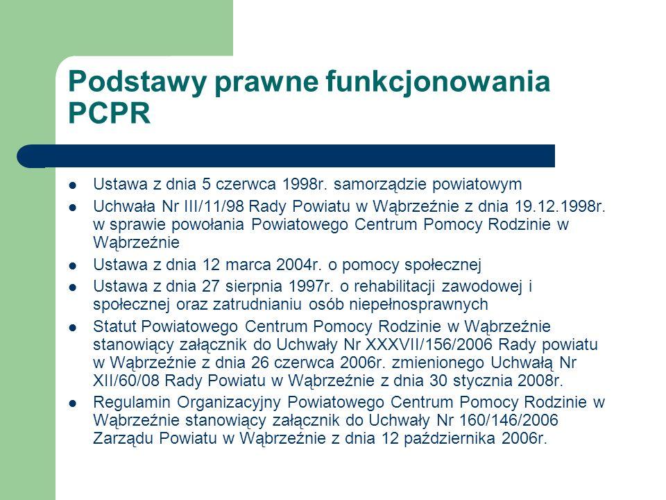 Podstawy prawne funkcjonowania PCPR Ustawa z dnia 5 czerwca 1998r. samorządzie powiatowym Uchwała Nr III/11/98 Rady Powiatu w Wąbrzeźnie z dnia 19.12.