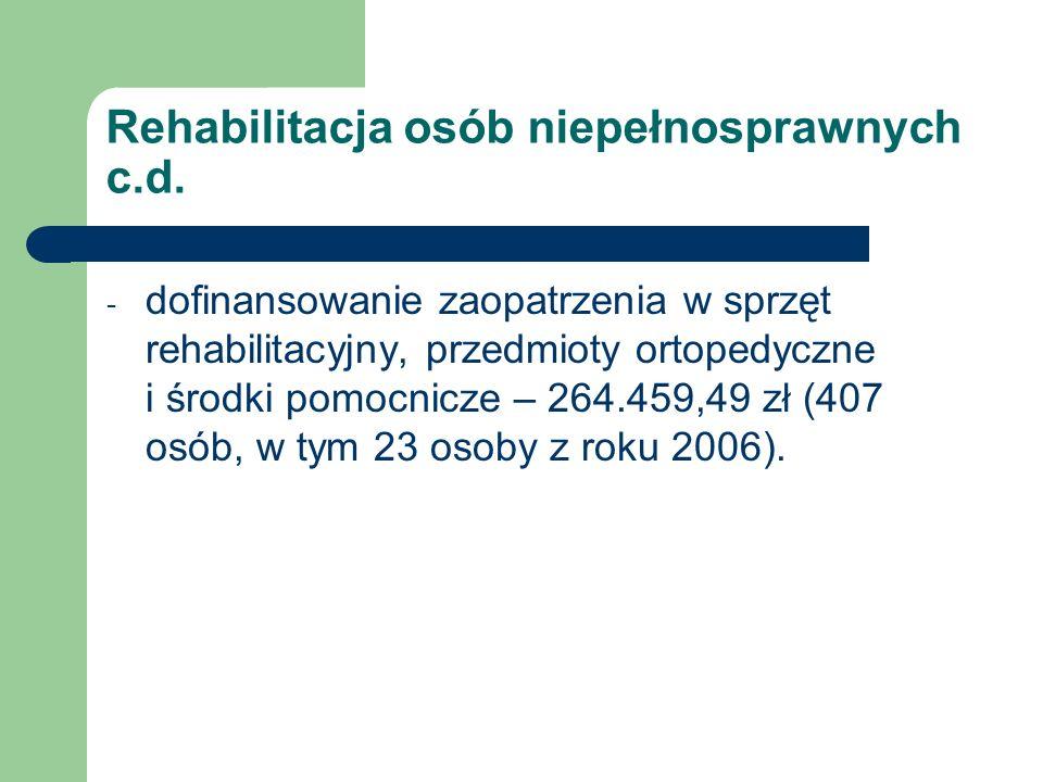 Rehabilitacja osób niepełnosprawnych c.d. - dofinansowanie zaopatrzenia w sprzęt rehabilitacyjny, przedmioty ortopedyczne i środki pomocnicze – 264.45