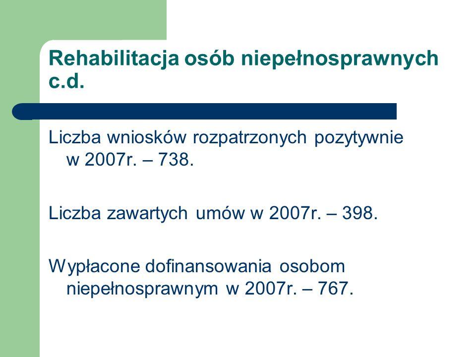 Rehabilitacja osób niepełnosprawnych c.d. Liczba wniosków rozpatrzonych pozytywnie w 2007r. – 738. Liczba zawartych umów w 2007r. – 398. Wypłacone dof