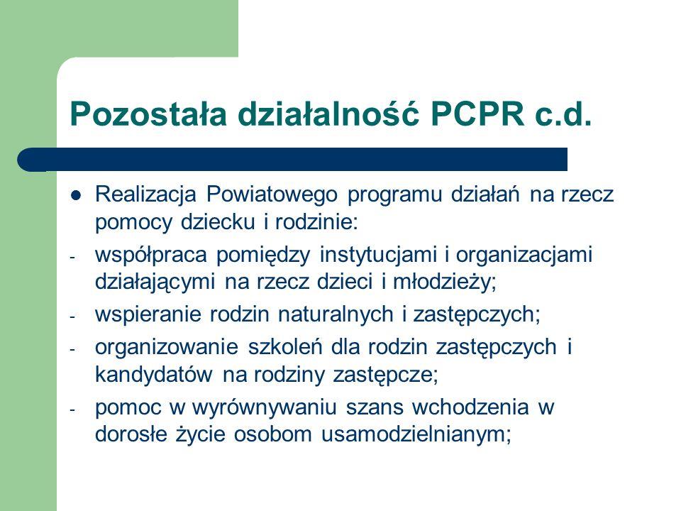 Pozostała działalność PCPR c.d. Realizacja Powiatowego programu działań na rzecz pomocy dziecku i rodzinie: - współpraca pomiędzy instytucjami i organ