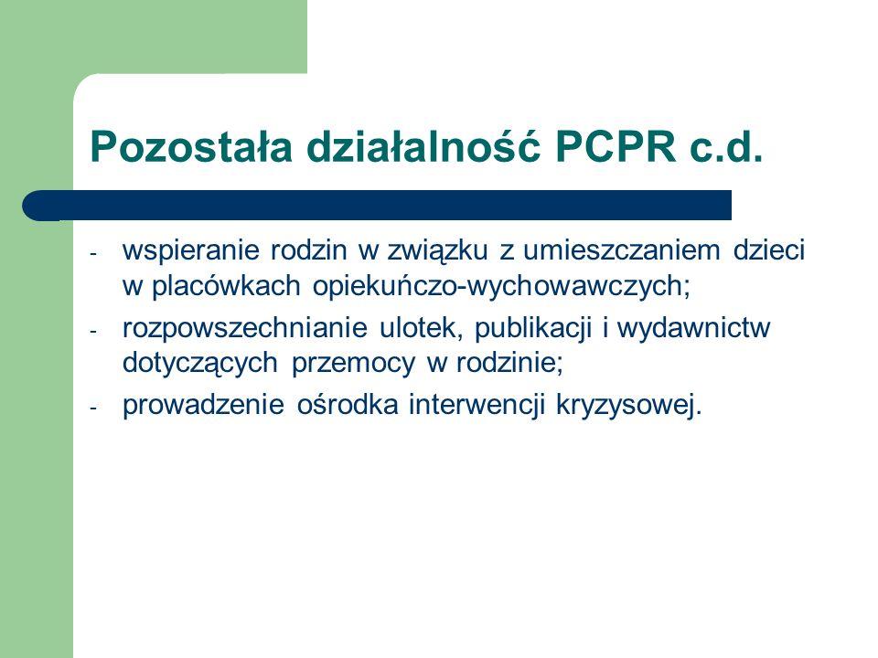 Pozostała działalność PCPR c.d. - wspieranie rodzin w związku z umieszczaniem dzieci w placówkach opiekuńczo-wychowawczych; - rozpowszechnianie ulotek