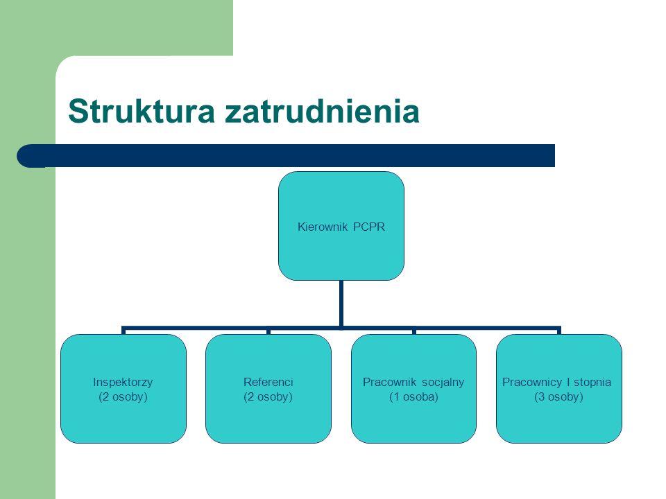 Struktura zatrudnienia Kierownik PCPR Inspektorzy (2 osoby) Referenci (2 osoby) Pracownik socjalny (1 osoba) Pracownicy I stopnia (3 osoby)