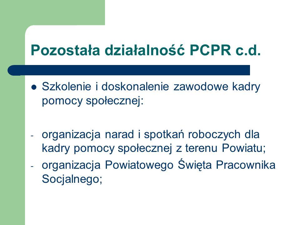 Pozostała działalność PCPR c.d. Szkolenie i doskonalenie zawodowe kadry pomocy społecznej: - organizacja narad i spotkań roboczych dla kadry pomocy sp