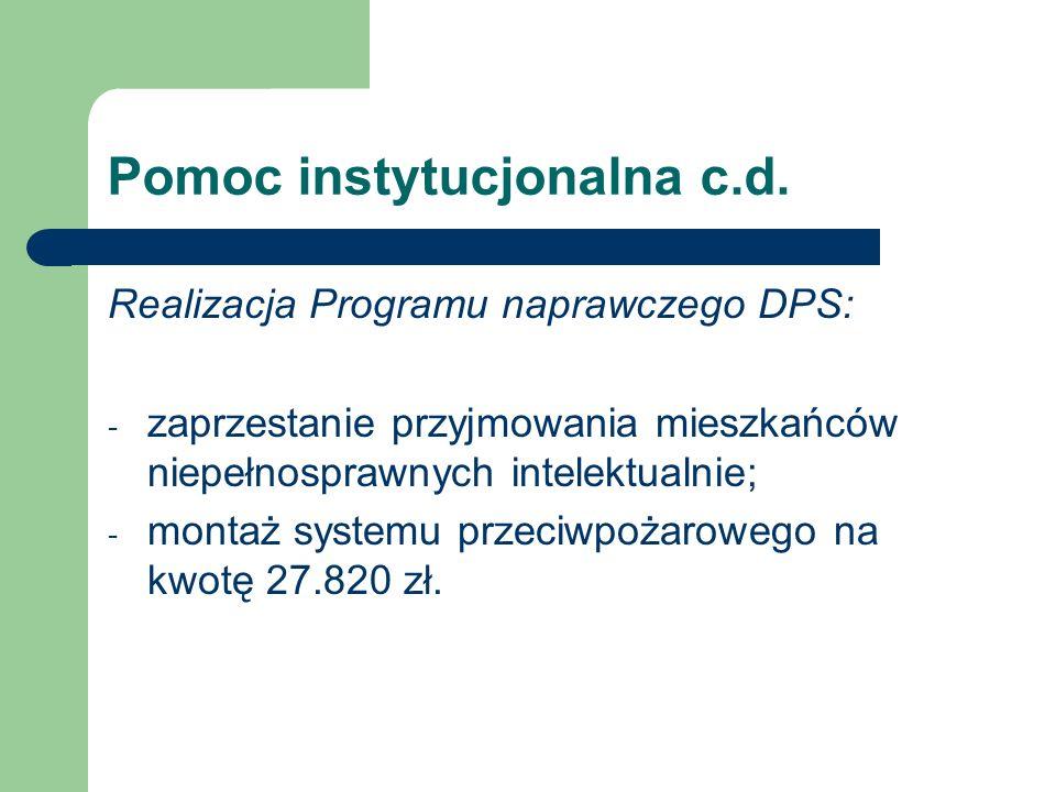 Pomoc instytucjonalna c.d. Realizacja Programu naprawczego DPS: - zaprzestanie przyjmowania mieszkańców niepełnosprawnych intelektualnie; - montaż sys