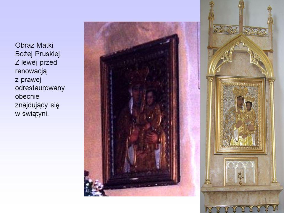 Obraz Matki Bożej Pruskiej. Z lewej przed renowacją z prawej odrestaurowany obecnie znajdujący się w świątyni.