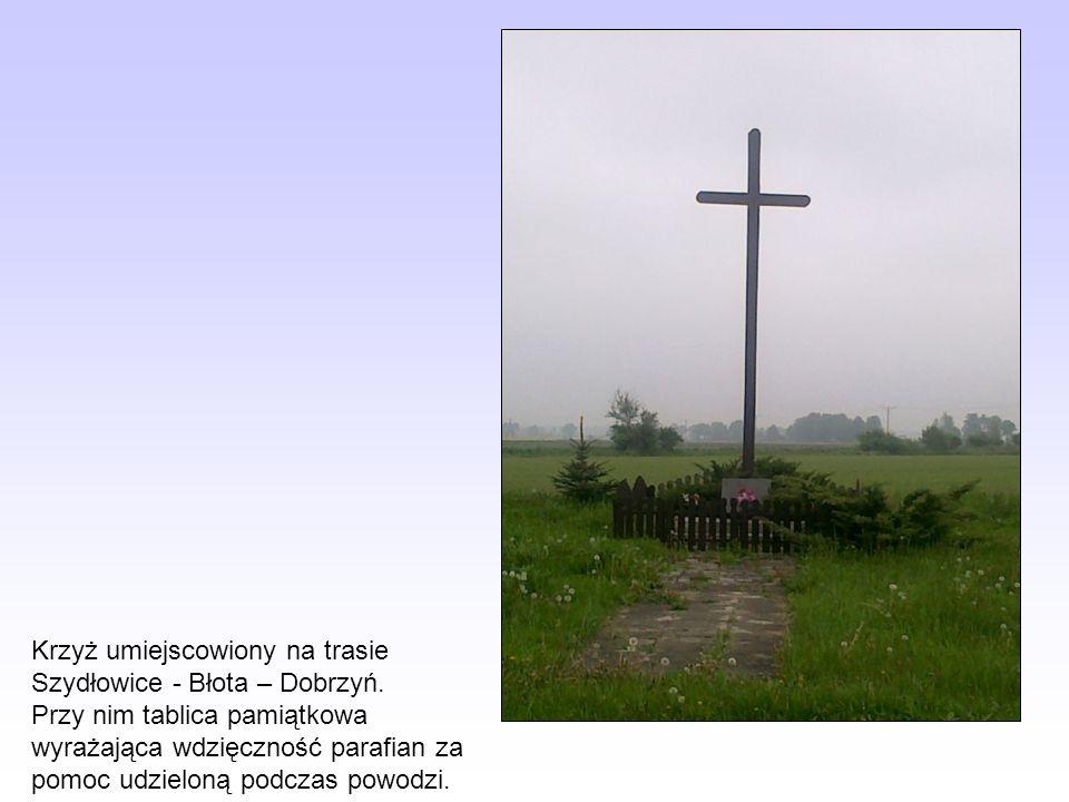 Krzyż umiejscowiony na trasie Szydłowice - Błota – Dobrzyń. Przy nim tablica pamiątkowa wyrażająca wdzięczność parafian za pomoc udzieloną podczas pow