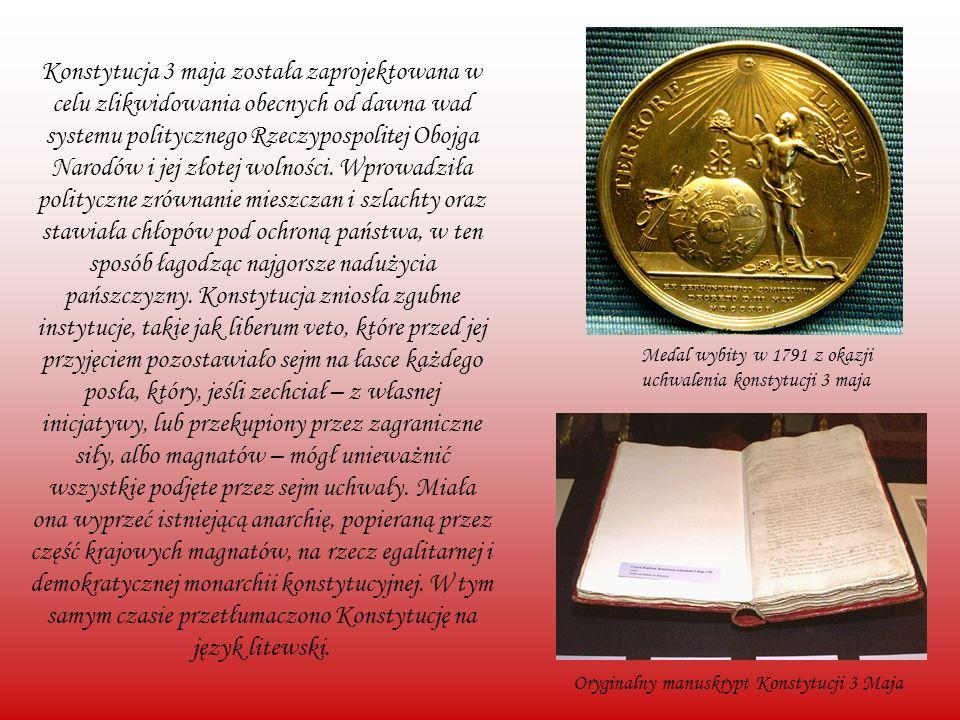 Konstytucja 3 maja została zaprojektowana w celu zlikwidowania obecnych od dawna wad systemu politycznego Rzeczypospolitej Obojga Narodów i jej złotej