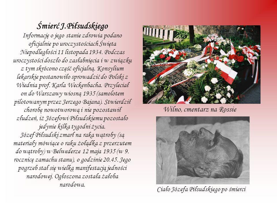 Śmierć J.Piłsudskiego Informację o jego stanie zdrowia podano oficjalnie po uroczystościach Święta Niepodległości 11 listopada 1934. Podczas uroczysto